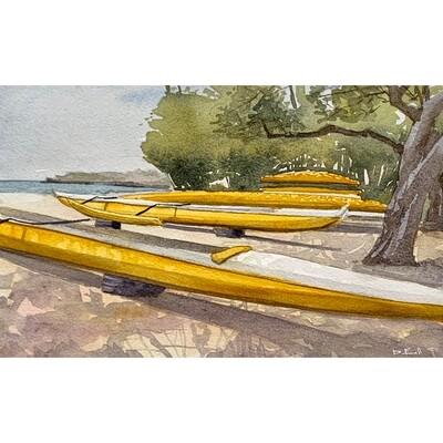 Yellow Outrigger Canoes - Lanai