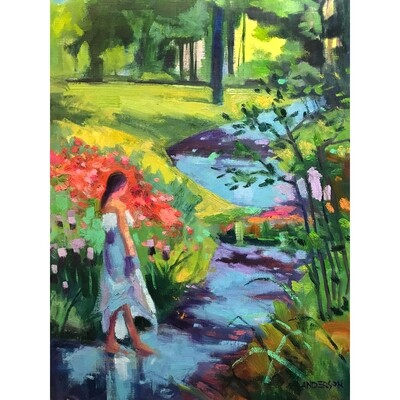 Figure On A Blue Path by Michael Anderson