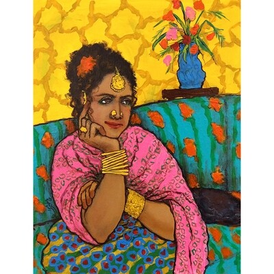 Woman with Yellow Wall