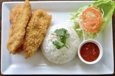 Poitrine de poulet croustillante et riz jasmin