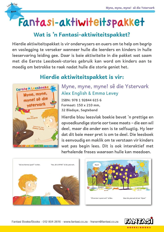 Aktiwiteitspakket - Myne, myne, myne! sê die Ystervark - Gratis