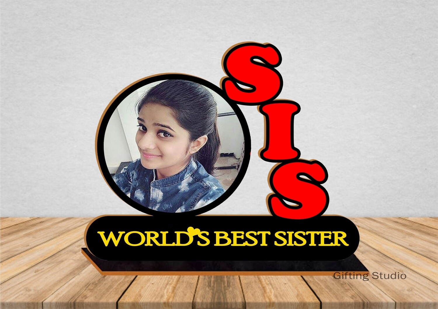 SIS Wooden Photo Standy with message | Personalised Gift