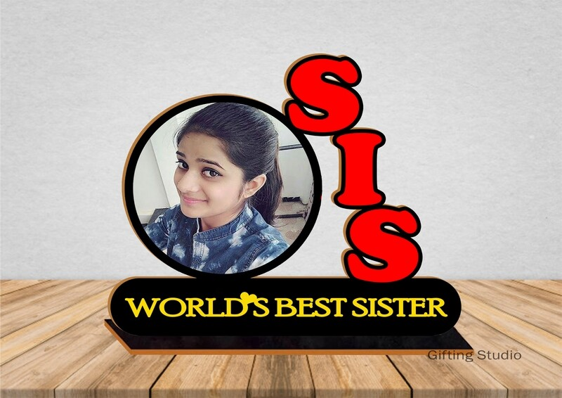 SIS Wooden Photo Standy with message   Personalised Gift