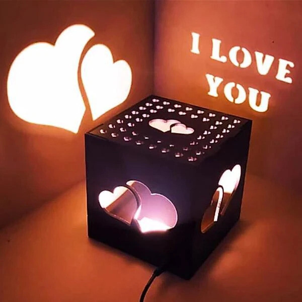 Dual heart theme Wooden Shadow box