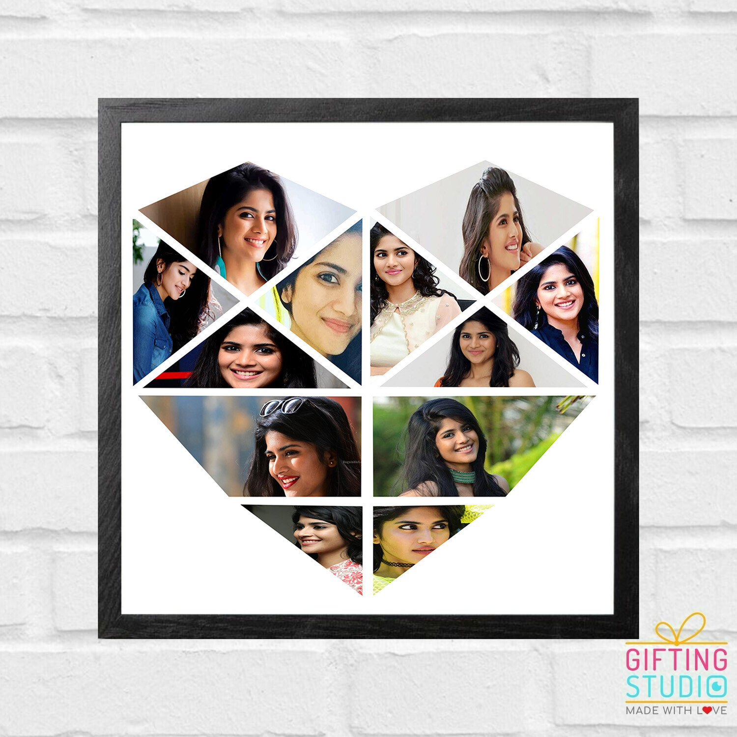 Heart Shaped Photo Collage Frame | Personalised Gift (12 PHOTOS)