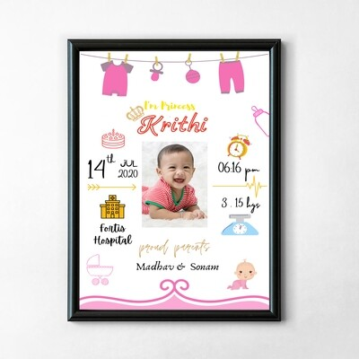 Personalised Baby Birth Frame - Newborn Baby Gifts