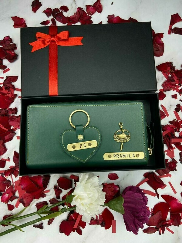 Personalised Women's Wallet with heart shaped keychain Combo