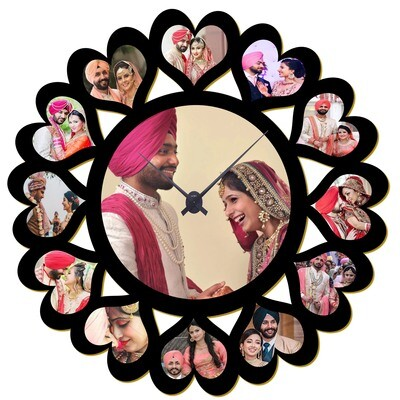 Customised Photo Clock with heart  -  With 13 Photos