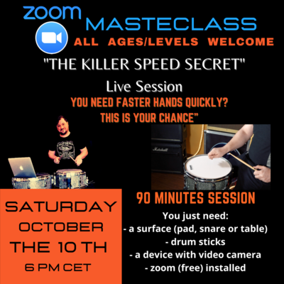 ZOOM MASTERCLASS - OCTOBER the 10th