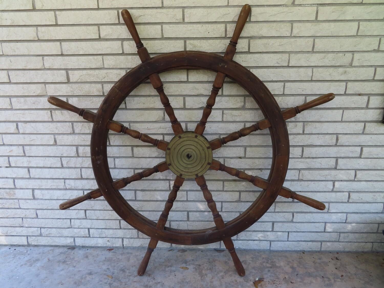 """Antique 56"""" Ship's Wheel"""