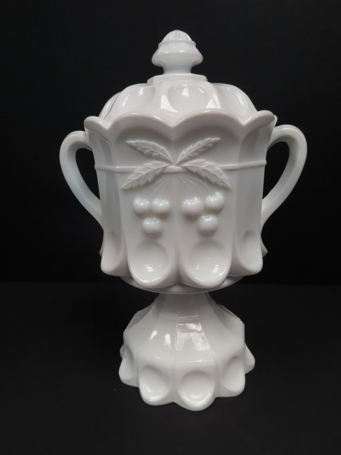 Cherries and Cable Milk Glass Cookie Jar