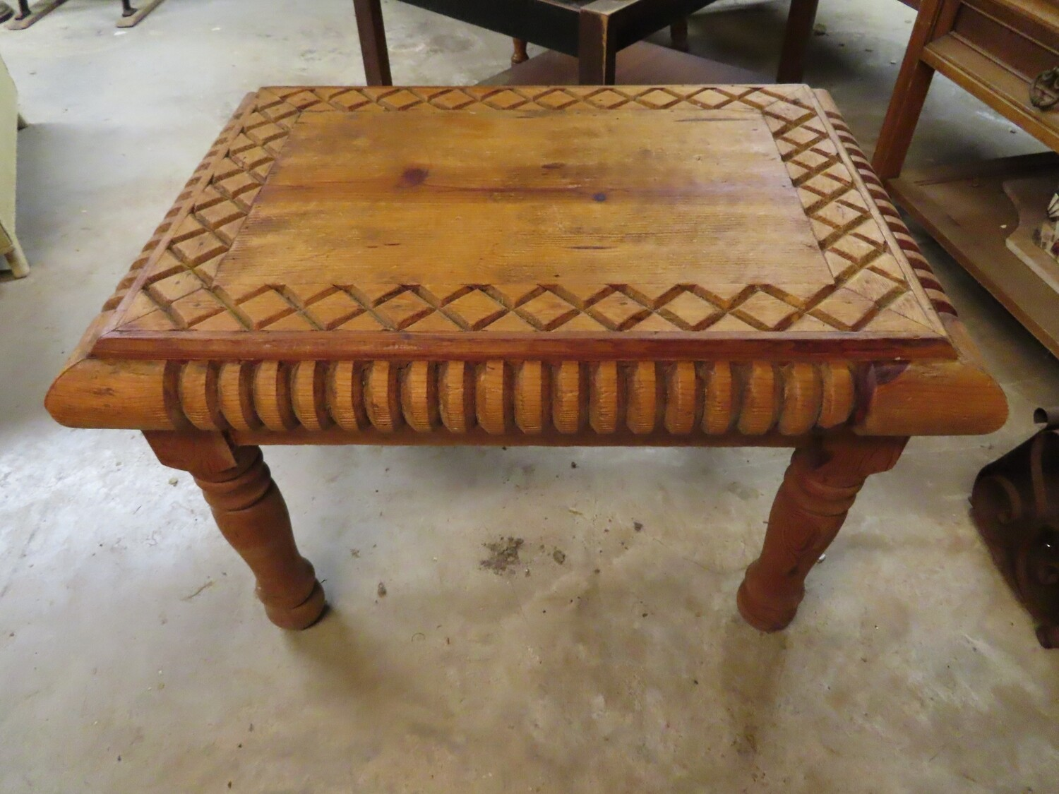Hand-Carved Pine Side Table