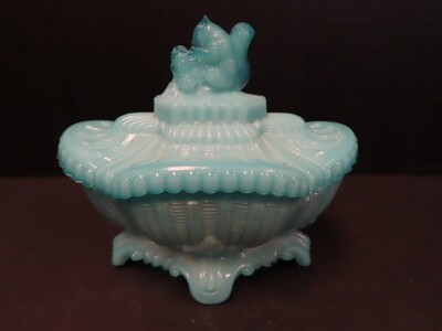 Portieux Vallerysthal Blue Opaline Milk Glass Squirrel Covered Dish