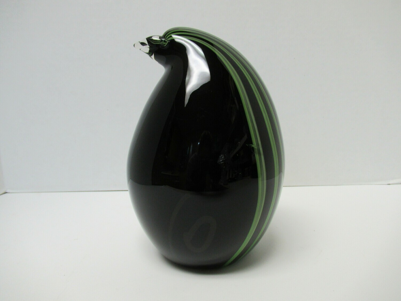 Green and Black Striped Murano Glass Penguin