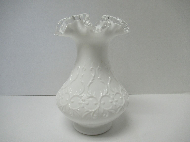 1960's Fenton Silver Crest Spanish Lace Ruffle Edged Vase