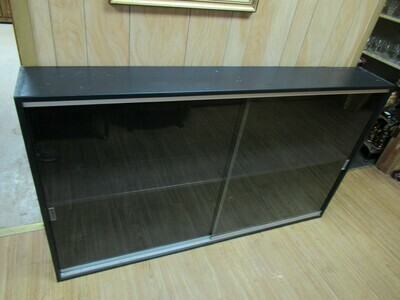 Wooden Black Display Cabinet with Sliding Glass Doors