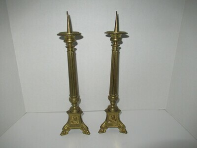 Pair Antique Brass Church Altar Candle Holders