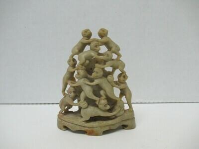 Hand Carved Soapstone Ten Monkeys Statue