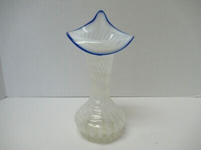 Fenton Jack In The Pulpit Opalescent Spiral Vase with Blue Trim