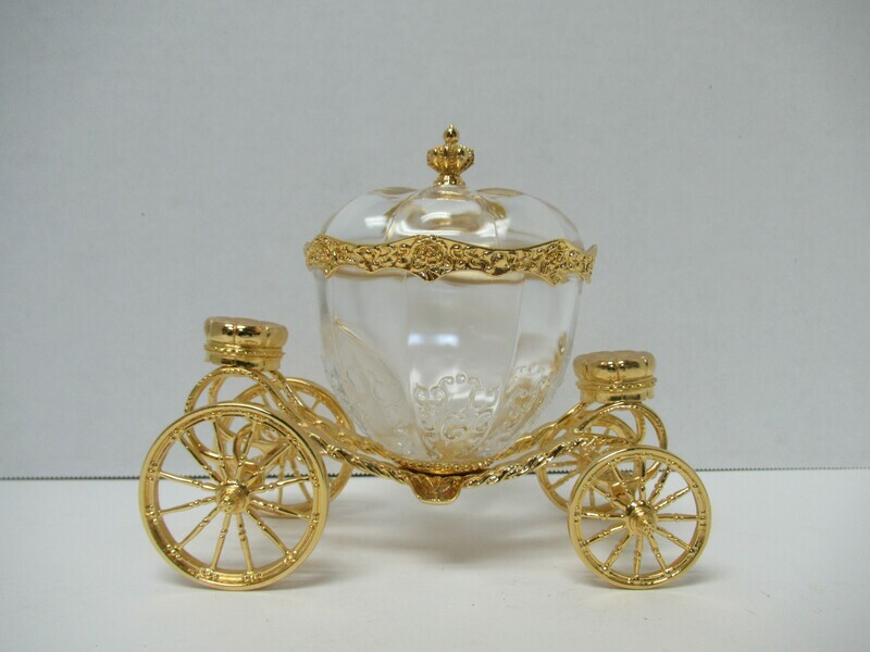 Vintage 24K Gold Plated Cinderella Carriage Crystal Trinket Box