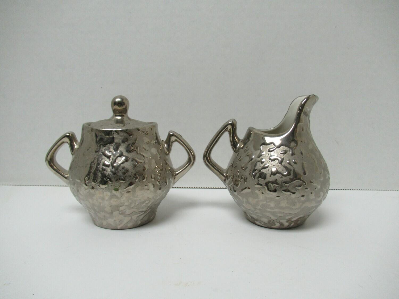 Kingwood Ceramics 23kt Platinum made in U.S.A Sugar Bowl Creamer Set