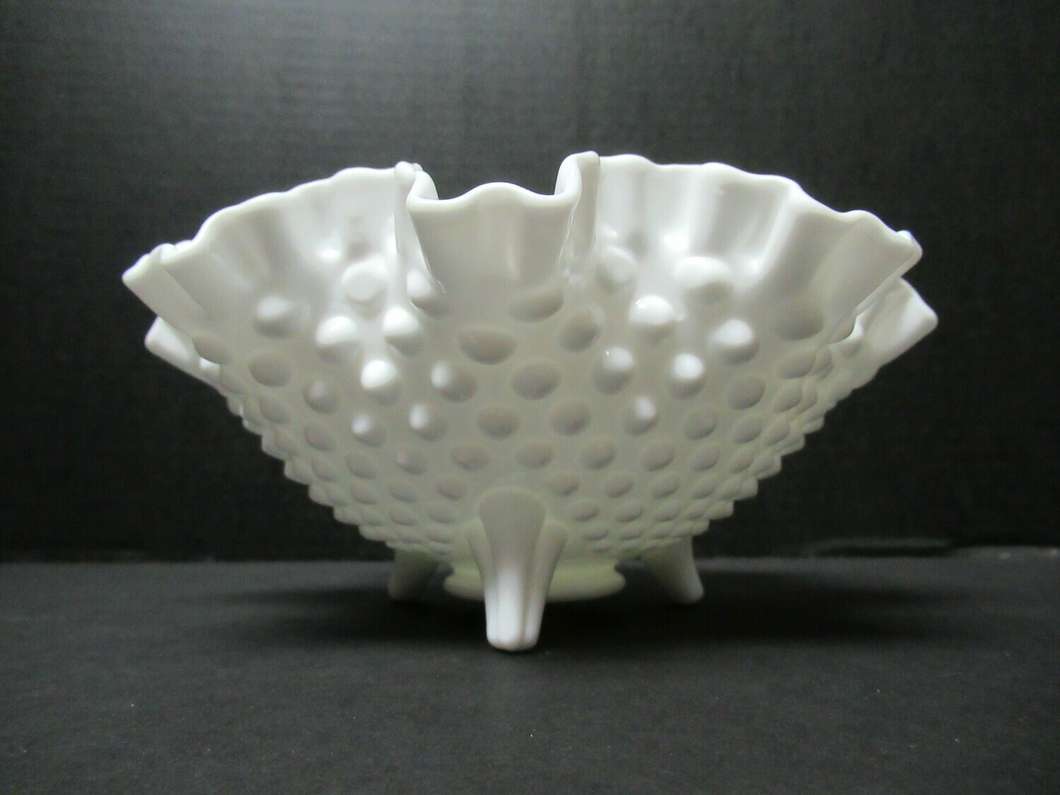 Fenton Three Footed Hobnail Milk Glass Ruffle Bowl