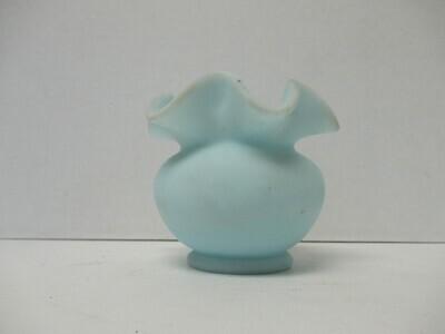 Aqua Satin Ruffle Edge Vase