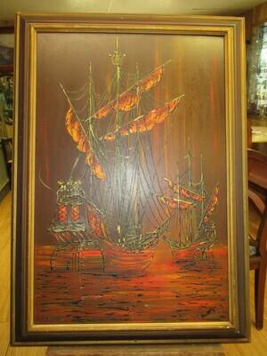 Mid Century Drip Painting Ships