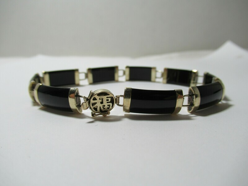 10k Yellow Gold Heng Ngai Signed Black Onyx Link Bangle Bracelet