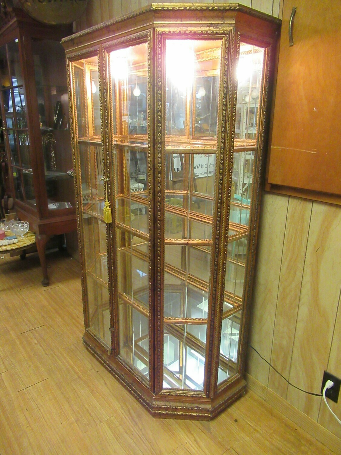 Gold Display Curio Cabinet