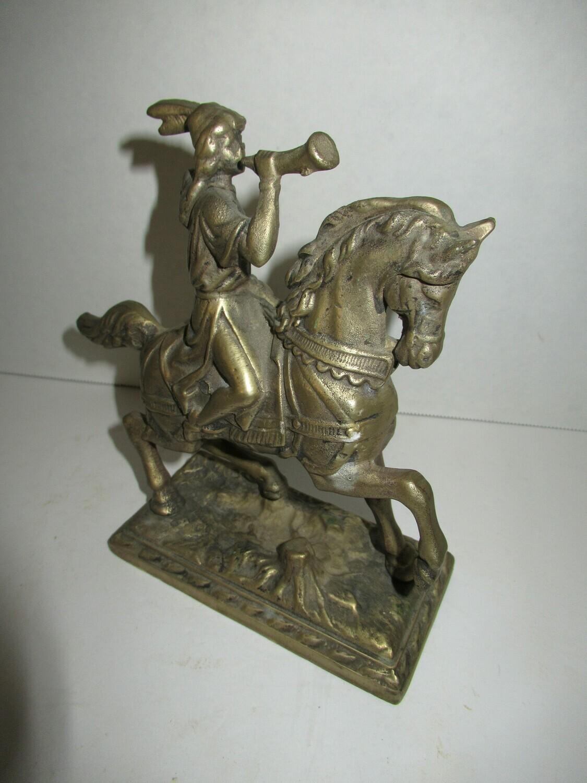 Brass Native American on Horse Figurine