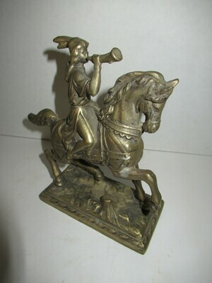 Brass Native American on Horse Figurine