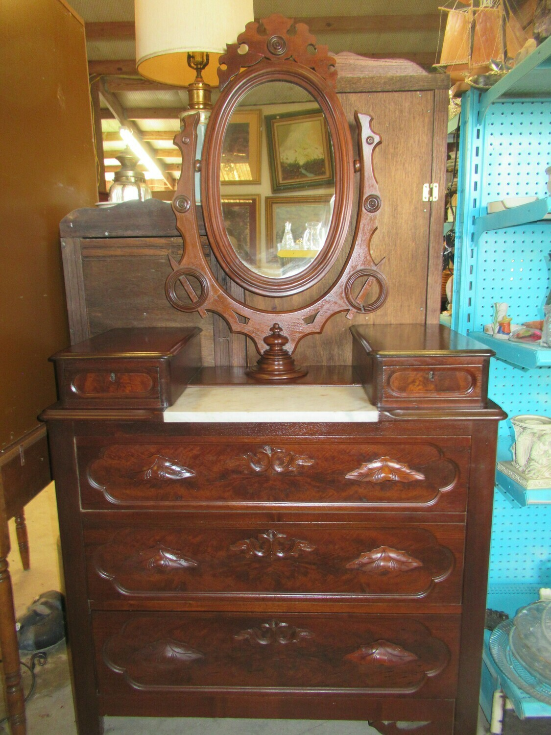 Antique Marble Top Dresser with Swivel Mirror