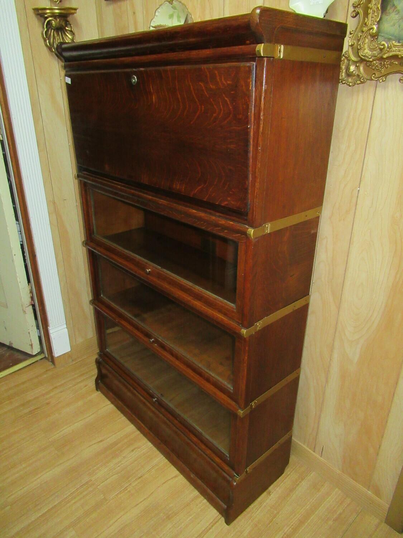 Globe Werinicke Co. Tiger Oak Sectional Bookcase and Drop Leaf Desk