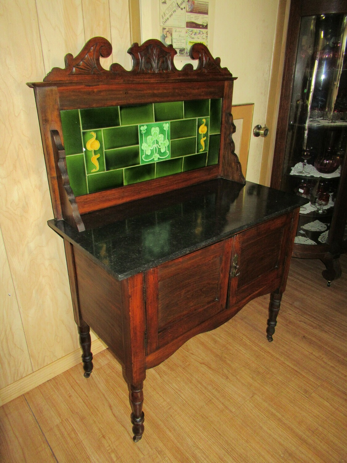 Sideboard with Irish tiles and Marble Top