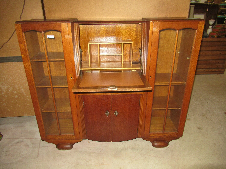 Oak Curio Display Cabinet and Drop Leaf Desk