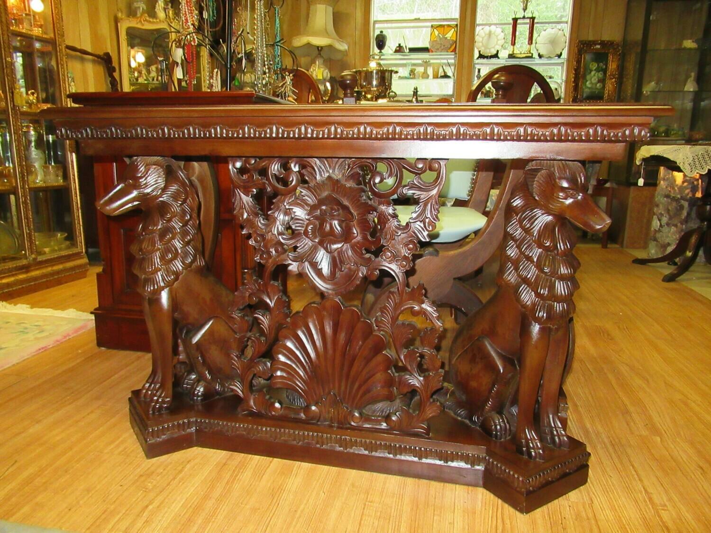 Mid Century Entry Table Solid Mahogany