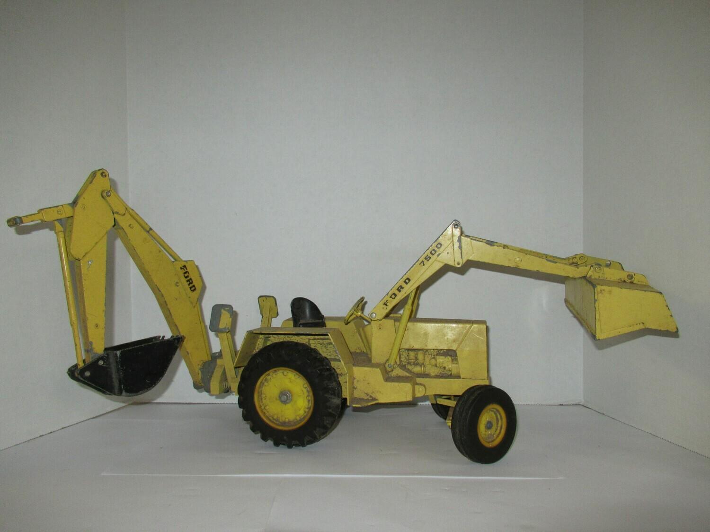 Large  Vintage 1970's FORD 7500 Backhoe Tractor Metal Toy