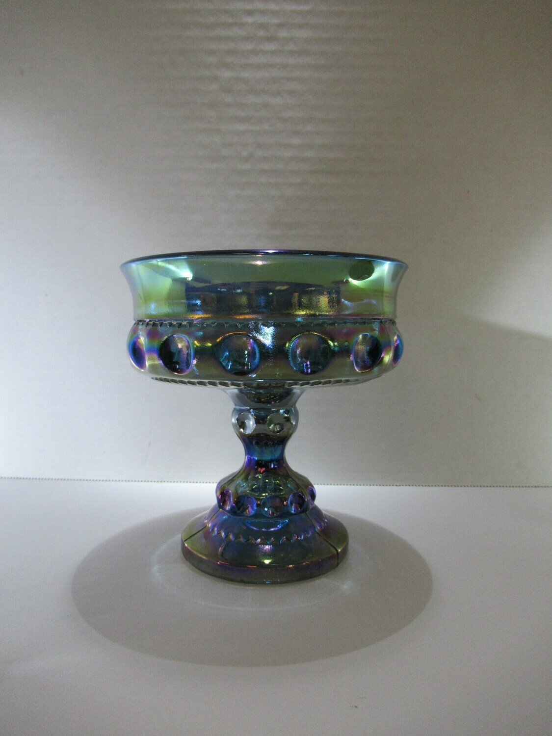 Indiana Colony Glass King's Blue Carnival Compote