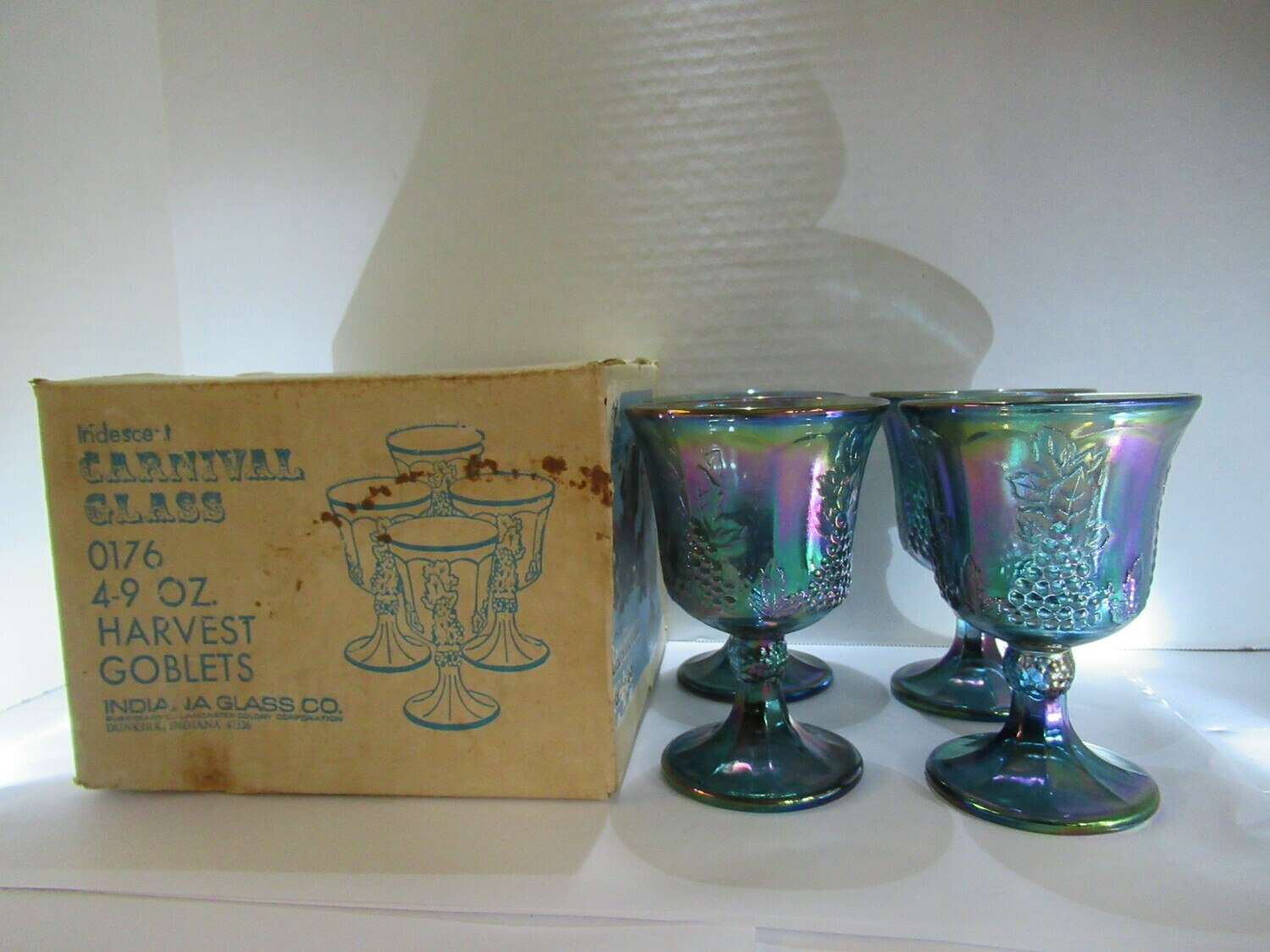 Carnival Glass Harvest Grape Goblets Indiana Glass Co. with Box