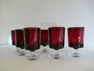 6 Red Shot Glass Set France Arcoroc