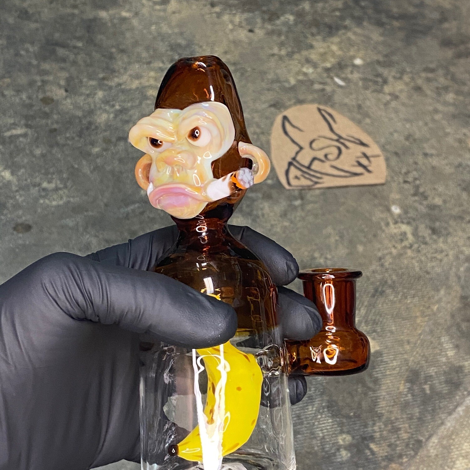 Jon Fischbach Chimp Rig w/ Banana Perc and Spinning Carb Cap - Amber