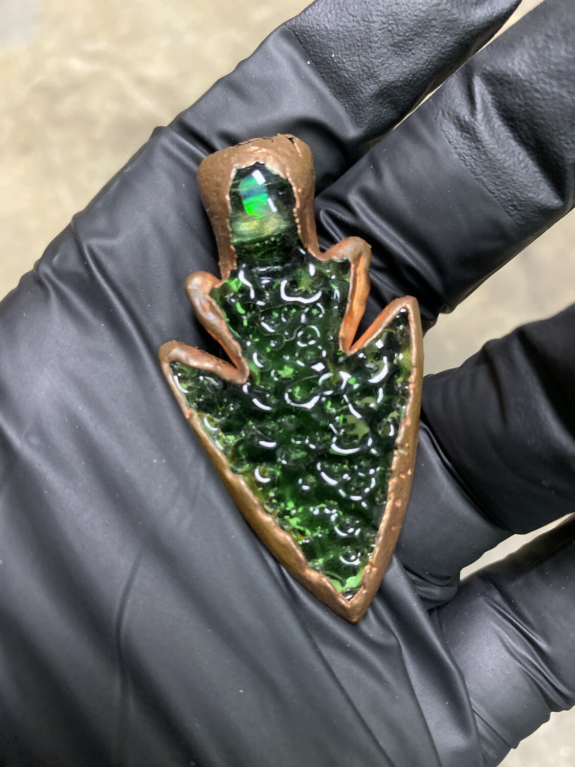 Diligent Glass Electroformed Arrowhead Pendant with Opal