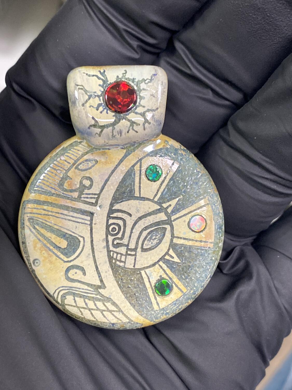 Koldwork x Diligent Glass Collab Pendant - Aztec, Opal, Hand Carved #2