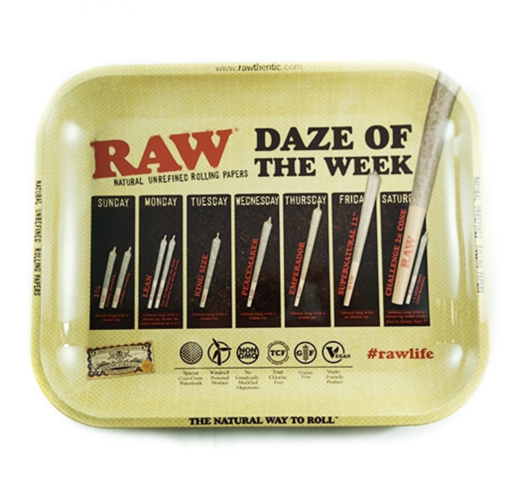 """RAW ROLLING TRAY - DAZE OF THE WEEK - LARGE 10.75"""" X 13.25"""" - WS"""