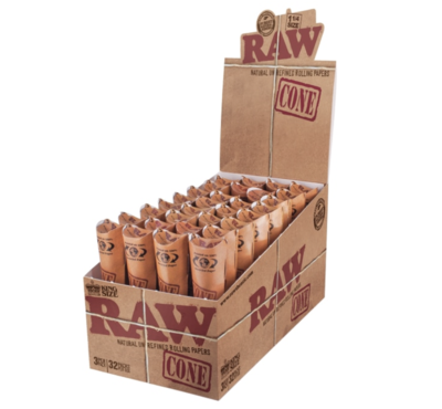 RAW CLASSIC KING SIZE CONE PAPERS 3PK (DISPLAY OF 32) - WS