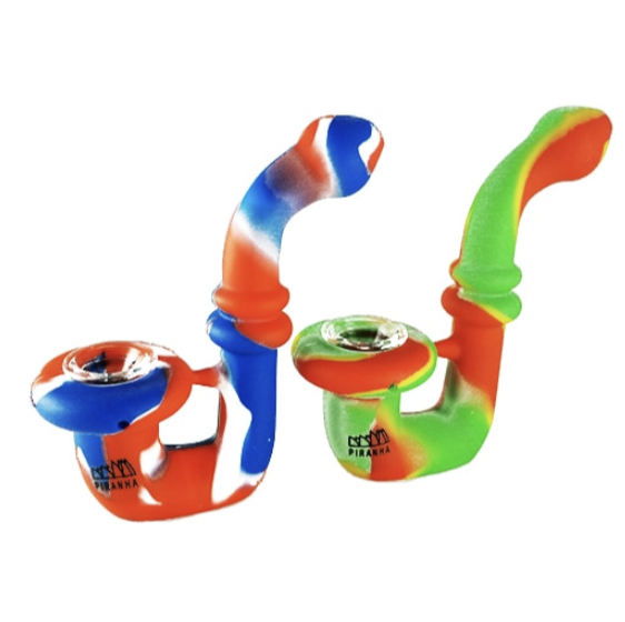 "PIRANHA SILICONE - HAND PIPE - 5"" SHERLOCK W/ GLASS BOWL - ASSORTED COLORS - WS"