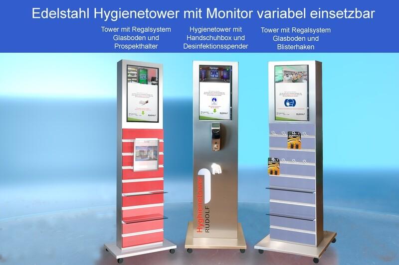 Hygienetower mit Monitor variabel verwendbar auch nach Corona. Steuern Sie digital das Hygieneverhalten Ihrer Kunden und Geschäftspartner beim betreten der Geschäftsräume.