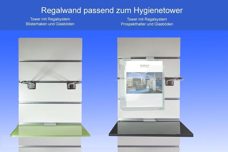 Das Regalsystem passend zum Hygienetower ist variabel zu bestücken