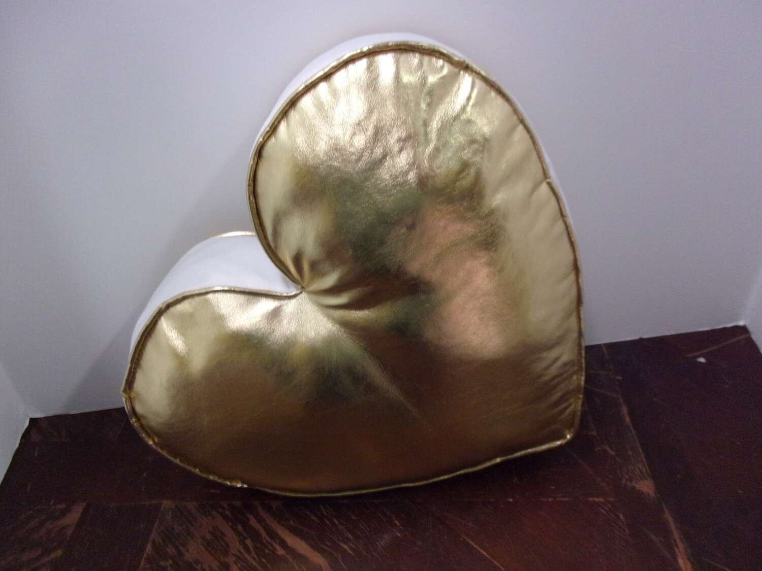 Shiny Gold Heart Shaped Pillow